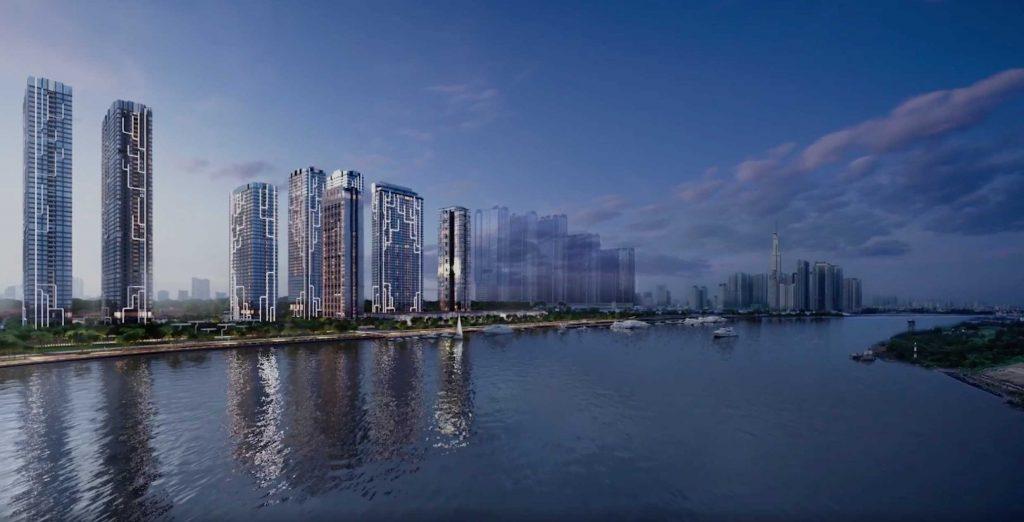 Toàn cảnh khu căn hộ Grand Marina Saigon bên sông Sài Gòn và cảng Thị Nghè Quận 1